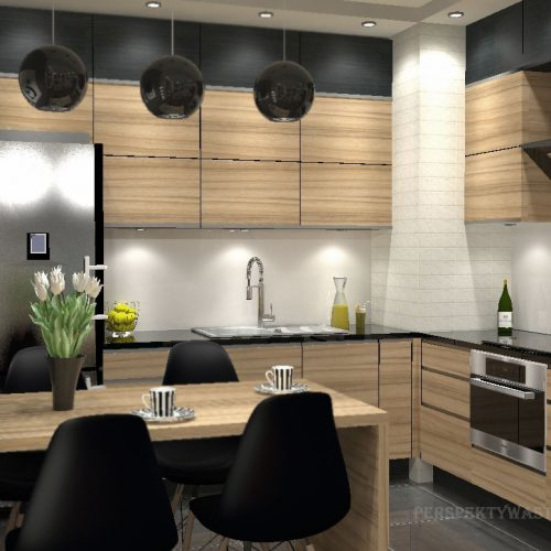 projekt-kuchni-salonu-projektowanie-wnętrz-lublin-perspektywa-studio-kuchnia-nowoczesna-fronty-drewniane-salon-morernizm-grafit-czerń-biokominek-Grafit-i-Cocco-bolo-6