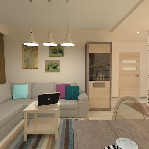 projekt-kuchni-salonu-projektowanie-wnętrz-lublin-perspektywa-studio-kuchnia-nowoczesna-fronty-lakierowane-plus-drewno-salon-fototapeta-Barcelona-1
