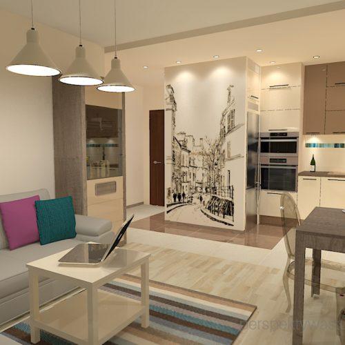 projekt-kuchni-salonu-projektowanie-wnętrz-lublin-perspektywa-studio-kuchnia-nowoczesna-fronty-lakierowane-plus-drewno-salon-fototapeta-Barcelona-2