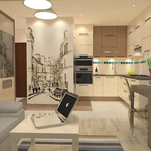 projekt-kuchni-salonu-projektowanie-wnętrz-lublin-perspektywa-studio-kuchnia-nowoczesna-fronty-lakierowane-plus-drewno-salon-fototapeta-Barcelona-5