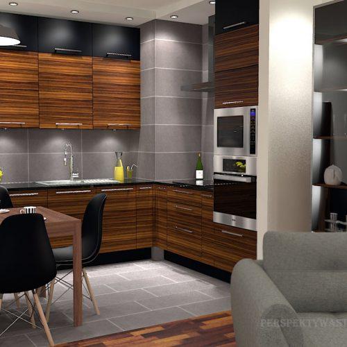 projekt-kuchni-salonu-projektowanie-wnętrz-lublin-perspektywa-studio-kuchnia-nowoczesna-grafit-palisander-piekarnik-w-wysokiej-zabudowie-salon-łupek-Grafit-i-palisander-1
