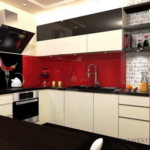 projekt-kuchni-salonu-projektowanie-wnętrz-lublin-perspektywa-studio-kuchnia-nowoczesna-lakierowane-fronty-czerwony-lakobel-kawalerka-biała-cegła-Red-Chilli-1