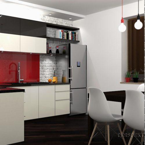 projekt-kuchni-salonu-projektowanie-wnętrz-lublin-perspektywa-studio-kuchnia-nowoczesna-lakierowane-fronty-czerwony-lakobel-kawalerka-biała-cegła-Red-Chilli-10