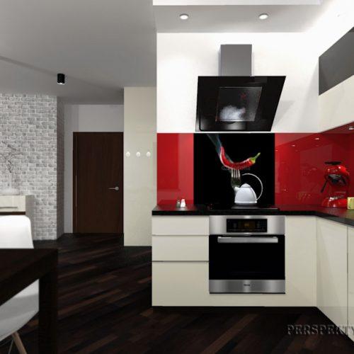 projekt-kuchni-salonu-projektowanie-wnętrz-lublin-perspektywa-studio-kuchnia-nowoczesna-lakierowane-fronty-czerwony-lakobel-kawalerka-biała-cegła-Red-Chilli-2