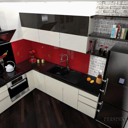 projekt-kuchni-salonu-projektowanie-wnętrz-lublin-perspektywa-studio-kuchnia-nowoczesna-lakierowane-fronty-czerwony-lakobel-kawalerka-biała-cegła-Red-Chilli-4
