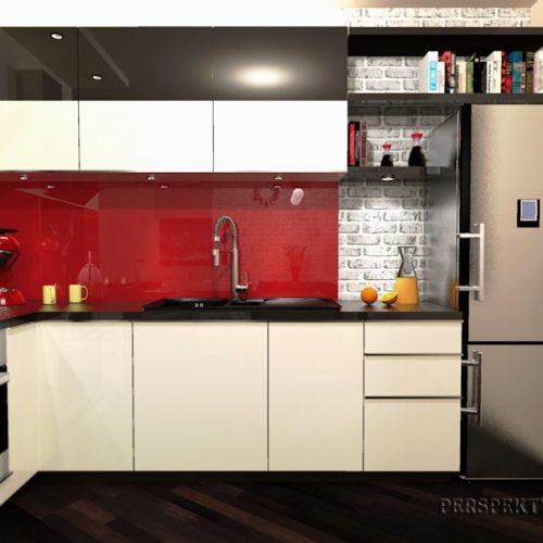 projekt-kuchni-salonu-projektowanie-wnętrz-lublin-perspektywa-studio-kuchnia-nowoczesna-lakierowane-fronty-czerwony-lakobel-kawalerka-biała-cegła-Red-Chilli-5