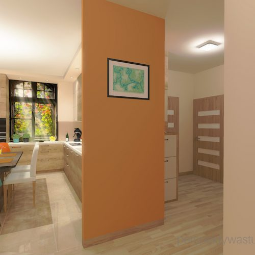 projekt-kuchni-salonu-projektowanie-wnętrz-lublin-perspektywa-studio-kuchnia-styl-nowoczesny-kolor-pomarańczowy-fototapeta-z-oknem-fronty-lakierowne-i-drewno-w-kuchni-Wojna-klonów-8