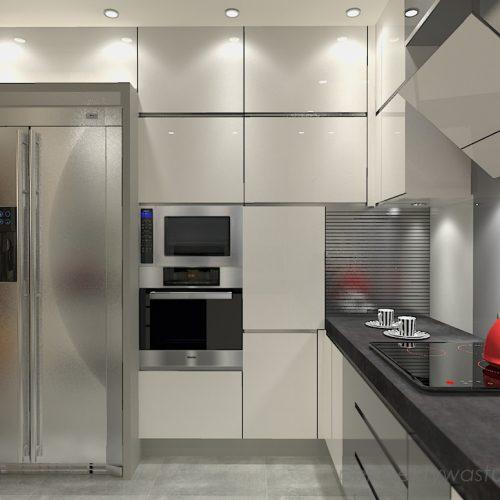 projekt-kuchni-salonu-projektowanie-wnętrz-lublin-perspektywa-studio-kuchnia-szaro-biała-styl-minimalistyczny-lodówka-side-by-side-salon-kominek-narożny-przedpokój-Czerwone-drzwi-do-nikąd-1