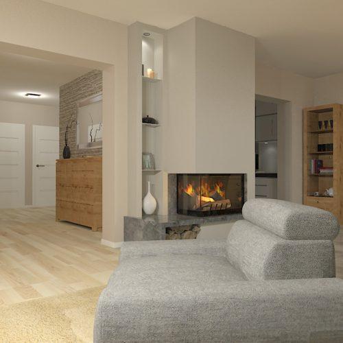 projekt-kuchni-salonu-projektowanie-wnętrz-lublin-perspektywa-studio-kuchnia-szaro-biała-styl-minimalistyczny-lodówka-side-by-side-salon-kominek-narożny-przedpokój-Czerwone-drzwi-do-nikąd-3