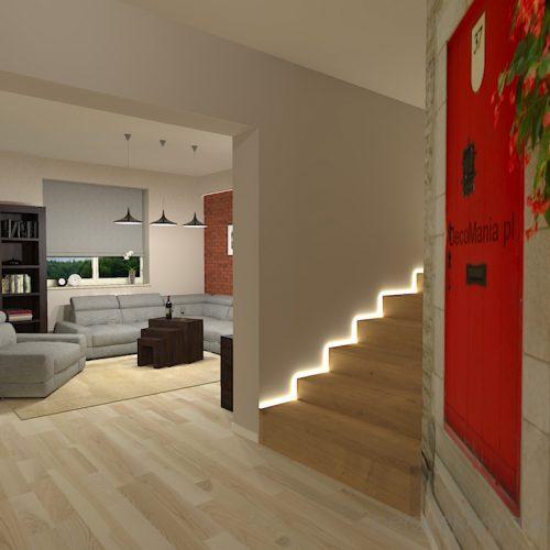 projekt-kuchni-salonu-projektowanie-wnętrz-lublin-perspektywa-studio-kuchnia-szaro-biała-styl-minimalistyczny-lodówka-side-by-side-salon-kominek-narożny-przedpokój-Czerwone-drzwi-do-nikąd-5
