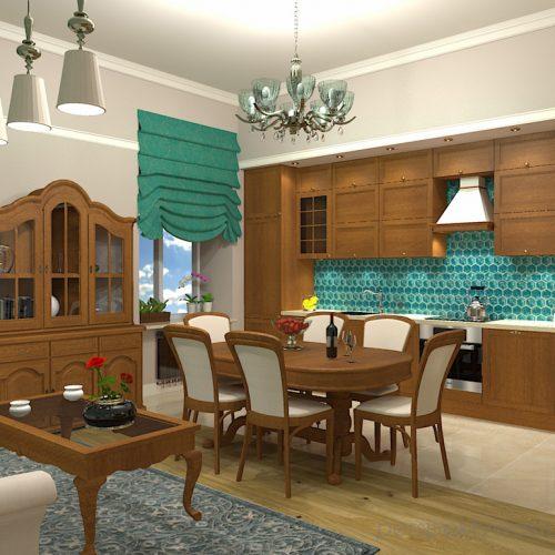 projekt-kuchni-salonu-projektowanie-wnętrz-lublin-perspektywa-studio-kuchnia-z-salonem-styl-klasyczny-meble-dębowe-kamienica-mozaika-lazurowa-Wodogrzmoty-mickiewicza-3