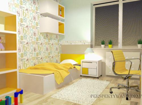 projekt-pokoju-projektowanie-wnętrz-lublin-perspektywa-studio-pokój-dziewczynki-6-lat-żółty-Lemonade-43