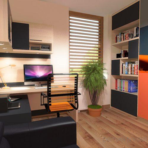 projekt-pokoju-salonu-projektowanie-wnętrz-lublin-perspektywa-studio-gabinet-pomarańczowo-i-grafitowy-fototapeta-biurko-narożne-rozkładana-sofa-dla-gości-Księżyc-w-nowiu-1