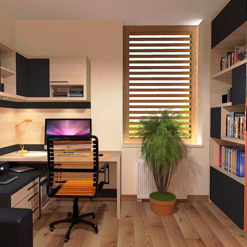 projekt-pokoju-salonu-projektowanie-wnętrz-lublin-perspektywa-studio-gabinet-pomarańczowo-i-grafitowy-fototapeta-biurko-narożne-rozkładana-sofa-dla-gości-Księżyc-w-nowiu-2