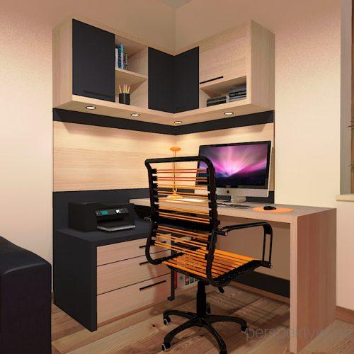 projekt-pokoju-salonu-projektowanie-wnętrz-lublin-perspektywa-studio-gabinet-pomarańczowo-i-grafitowy-fototapeta-biurko-narożne-rozkładana-sofa-dla-gości-Księżyc-w-nowiu-3