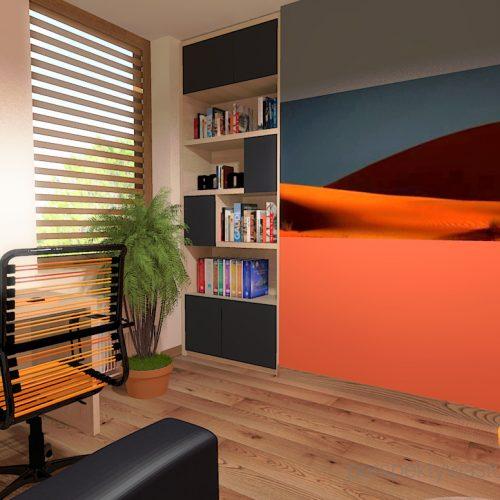 projekt-pokoju-salonu-projektowanie-wnętrz-lublin-perspektywa-studio-gabinet-pomarańczowo-i-grafitowy-fototapeta-biurko-narożne-rozkładana-sofa-dla-gości-Księżyc-w-nowiu-4
