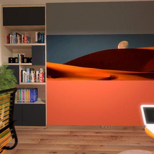 projekt-pokoju-salonu-projektowanie-wnętrz-lublin-perspektywa-studio-gabinet-pomarańczowo-i-grafitowy-fototapeta-biurko-narożne-rozkładana-sofa-dla-gości-Księżyc-w-nowiu-5