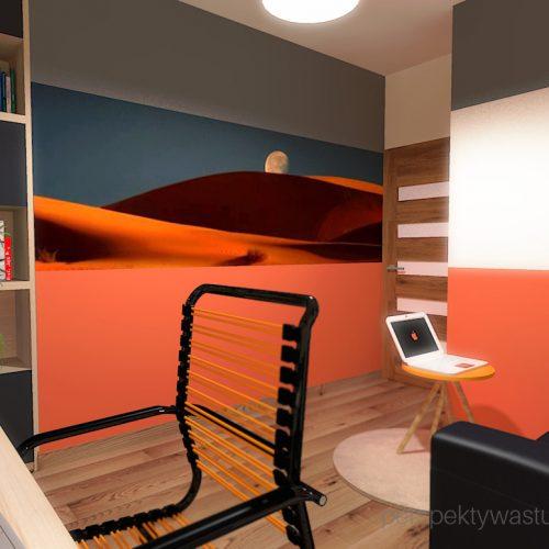 projekt-pokoju-salonu-projektowanie-wnętrz-lublin-perspektywa-studio-gabinet-pomarańczowo-i-grafitowy-fototapeta-biurko-narożne-rozkładana-sofa-dla-gości-Księżyc-w-nowiu-6