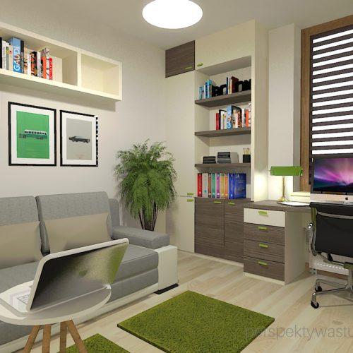 projekt-pokoju-salonu-projektowanie-wnętrz-lublin-perspektywa-studio-gabinet-w-jasnych-kolorach-z-miejcem-do-spania-dla-gości-Green-bus-2