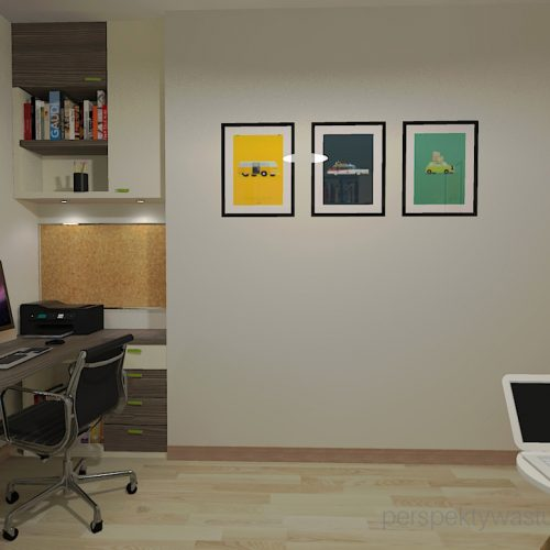 projekt-pokoju-salonu-projektowanie-wnętrz-lublin-perspektywa-studio-gabinet-w-jasnych-kolorach-z-miejcem-do-spania-dla-gości-Green-bus-3
