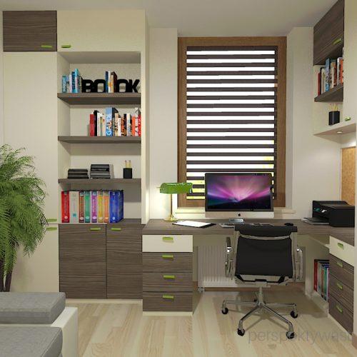projekt-pokoju-salonu-projektowanie-wnętrz-lublin-perspektywa-studio-gabinet-w-jasnych-kolorach-z-miejcem-do-spania-dla-gości-Green-bus-5