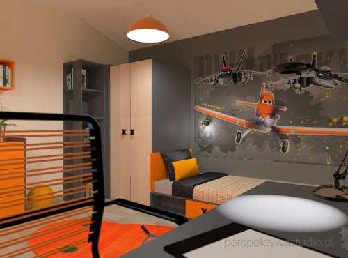projekt-pokoju-salonu-projektowanie-wnętrz-lublin-perspektywa-studio-pokój-dla-chłopca-6-lat-pomarańczowy-Dusty-2