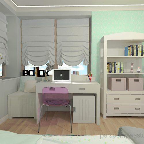 projekt-pokoju-salonu-projektowanie-wnętrz-lublin-perspektywa-studio-pokój-dziewczynki-6-lat-wnęki-w-pokoju-dziecka-garderoba-kolor-szary-i-mietowy-tapeta-Czuje-miętę-3
