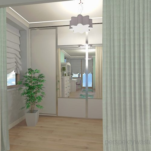 projekt-pokoju-salonu-projektowanie-wnętrz-lublin-perspektywa-studio-pokój-dziewczynki-6-lat-wnęki-w-pokoju-dziecka-garderoba-kolor-szary-i-mietowy-tapeta-Czuje-miętę-5