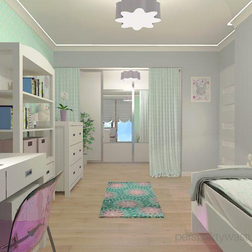 projekt-pokoju-salonu-projektowanie-wnętrz-lublin-perspektywa-studio-pokój-dziewczynki-6-lat-wnęki-w-pokoju-dziecka-garderoba-kolor-szary-i-mietowy-tapeta-Czuje-miętę-6