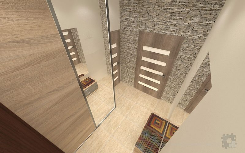 projekt-przedpokoju-projektowanie-wnętrz-lublin-perspektywa-studio-przedpokój-Trawertyn-2