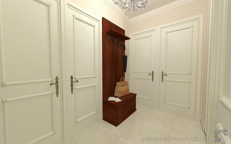 projekt-przedpokoju-projektowanie-wnętrz-lublin-perspektywa-studio-przedpokój-w-kamienicy-styl-klasyczny-białe-drzwi-1