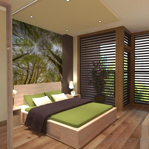 projekt-sypialni-projektowanie-wnętrz-lublin-perspektywa-studio-sypialnia-styl-nowoczesny-brązy-i-zieleń-w-sypialni-fototapeta-powiększająca-wnętrze-Leśne-zacisze-13