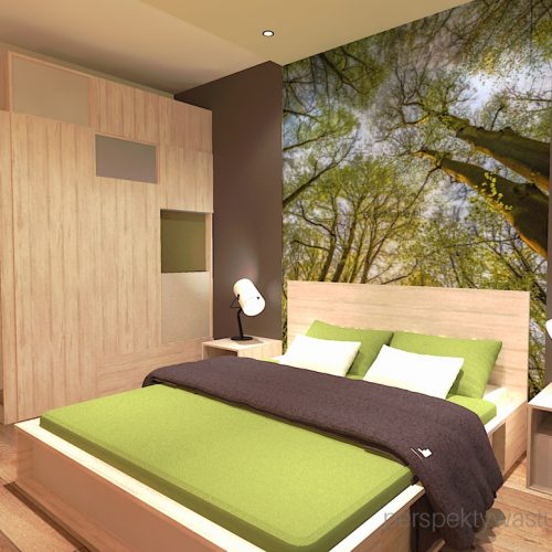projekt-sypialni-projektowanie-wnętrz-lublin-perspektywa-studio-sypialnia-styl-nowoczesny-brązy-i-zieleń-w-sypialni-fototapeta-powiększająca-wnętrze-Leśne-zacisze-16