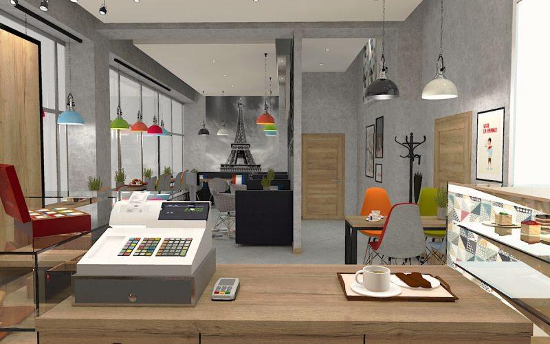 projektant-wnętrz-Lublin-wnętrza komercyjne-La-Lumiere-piekarnia-francuska-Wieża-Eiflla-1