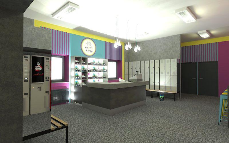 projektant-wnętrz-Lublin-wnętrza komercyjne-Wrotkomania-skate-park-Fuksja-1