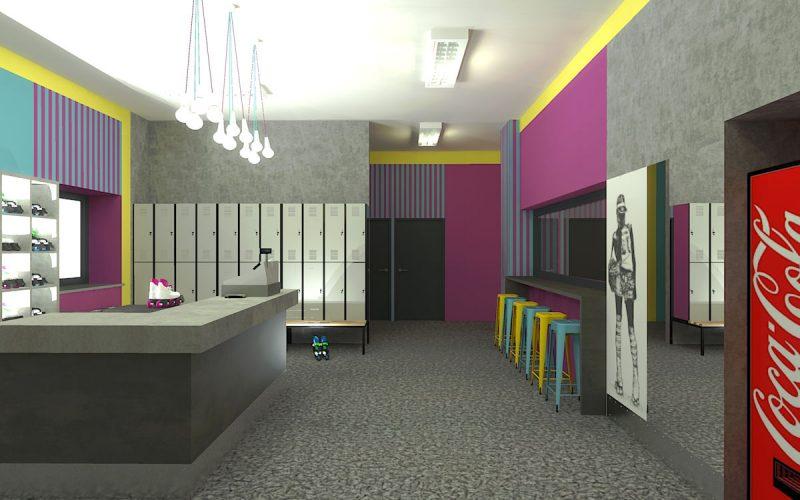 projektant-wnętrz-Lublin-wnętrza komercyjne-Wrotkomania-skate-park-Fuksja-2