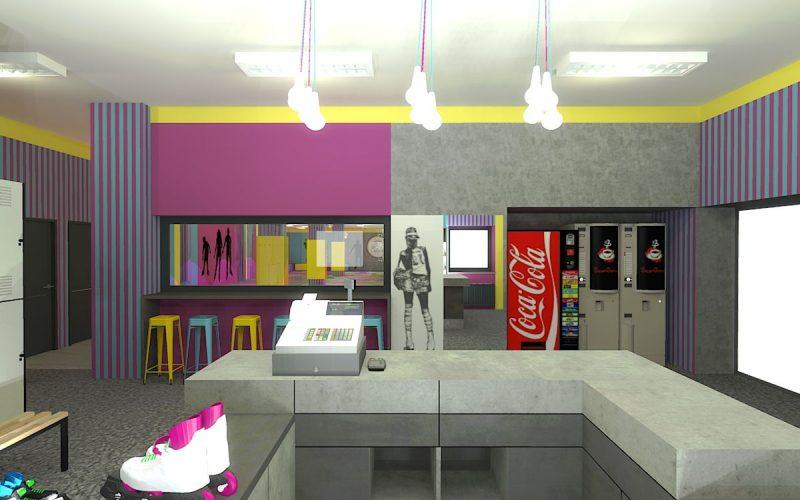 projektant-wnętrz-Lublin-wnętrza komercyjne-Wrotkomania-skate-park-Fuksja-3