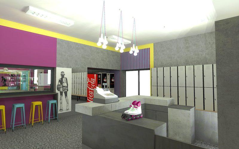 projektant-wnętrz-Lublin-wnętrza komercyjne-Wrotkomania-skate-park-Fuksja-5