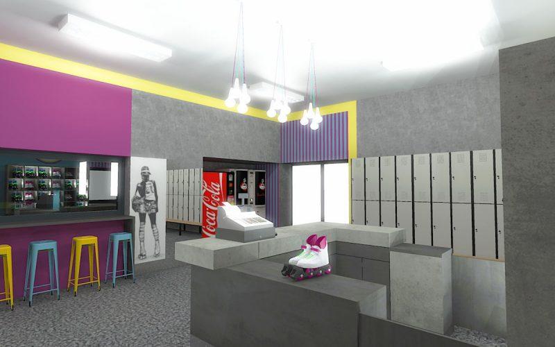 projektant-wnętrz-Lublin-wnętrza komercyjne-Wrotkomania-skate-park-Fuksja-7