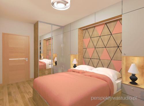 projektant_wnętrz_lublin-perspektywa_studio-projekt-mała-sypialnia-w-bloku-łóżko-w-zabudowie-tapicerowany-zagłówek-beż-i-koral-8